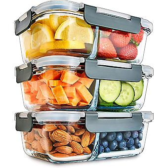 Glass Igluu Meal Prep 2 Compartment Container with Airtight SnapLock Lids