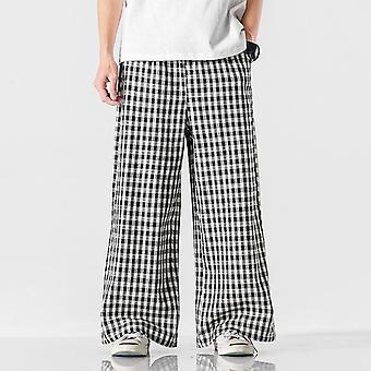 Linen Pants, Men Check Printed Harlan Wide Leg, Couple Casual Loose Pantalon,