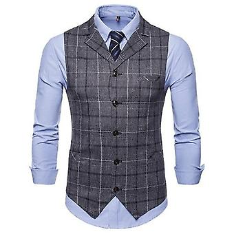 Mens Wedding Waistcoat, Striped Plaid Formal Blazer Vests, Casual Single