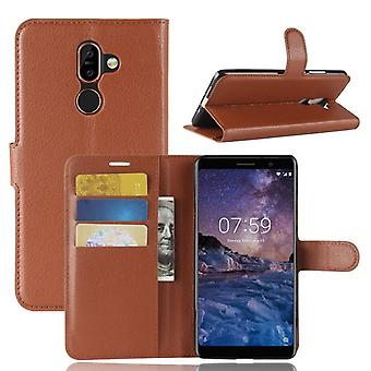 Nokia 7 Plus stødsikker tegnebog Folio læderetui - Brun