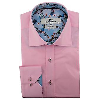 Claudio Lugli Tie Dye Flower Trim Mens Shirt
