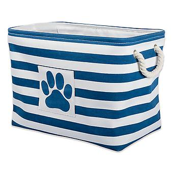 Dii Polyester Pet Bin Stripe With Paw Patch Navy Rectangle Grand