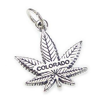 Colorado Marijuana Leaf Sterling Silver Charm Pendant .925 X 1 Leaves - 4211