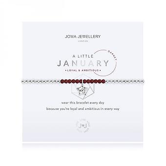 Joma Jewellery A Little Birthstone Janeiro Garnet Silver 17.5cm Stretch Bracelet 3460