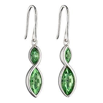 Fiorelli Silver Womens 925 Sterling Silver Rhodium Plaqué Peridot Green Crystal Marquise Drop Hook Boucles d'oreilles
