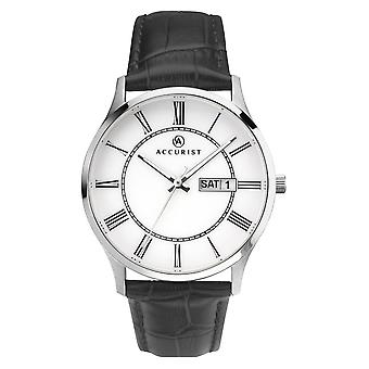 Accurist 7236 Classic White & Black Leather Men's Watch