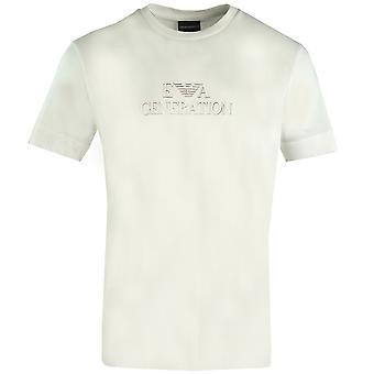 אמפוריו ארמני דור EA לוגו חולצה לבנה