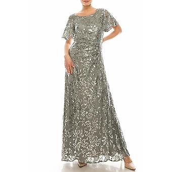 Alex Evenings Silver A-line Embroidered Sequin Lace Gown