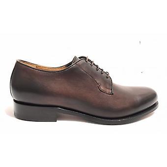 Men's Shoes Ben.ter Francesina In Brown Leather Testra Di Moro Handmade U18bt15