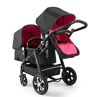 Twin Stroller High View Luxury With Sleeping Basket, Mode Foldable Double