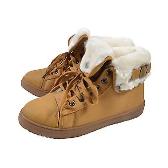 Womens Flat Faux Fur Lined Grip Sole Winter Ankle Boots   - Camel