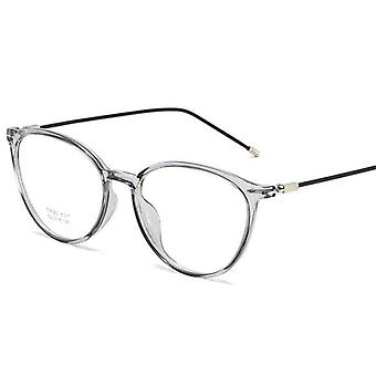 Transparent Gray Nearsighted Spectacle Steel Oval Eyeglasses