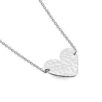 Sterling Silver Necklace Pendant - Origins Simple Hammered Heart