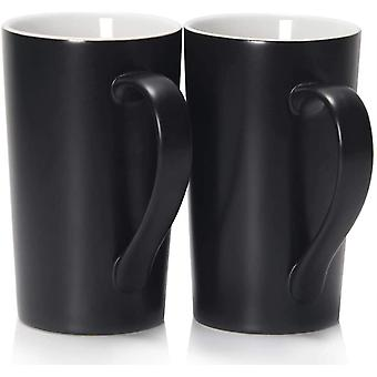 20 oz / 600ml Large Coffee Mugs, DZK M007 Plain Tall Ceramic Cup with Handle for Dad Men, Set of 2,