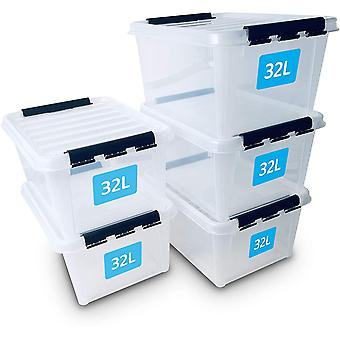 SmartStore 32L Storage Boxes 5 Pack, Reinforced, Clear, 10 Year Guarantee, Food Safe, Clip Locked,