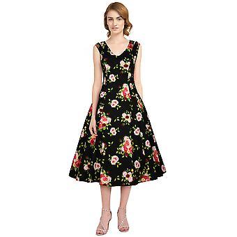 Chic Star Plus Size Retro Dress In Black/Floral