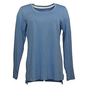 Isaac Mizrahi En direct! Women's Top Essentials Cotton Hi-Low Hem Blue A389762