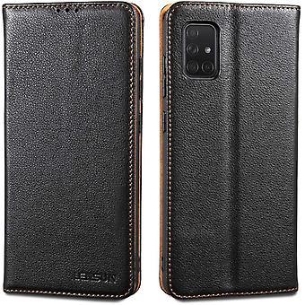 HanFei Echtleder Hlle fr Samsung Galaxy A71, Leder Handyhlle Magnetverschluss Kartenfach Handytasche