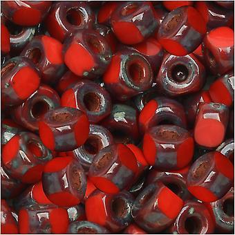 Tšekkiläinen lasimatubo, tri-cut 2/0 siemenet metri, 20 gramman putki, punainen tumma travertiini