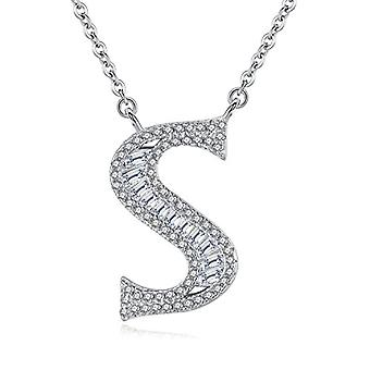 Gemshadow initial Sterling 925 silver necklace with zircon personalized letter gifts for women girls, cod. AQEN000057