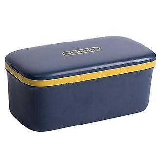Ice Cube Tray with Lid 64 Compartments Cube Box Mould Double Layer Silicone Mold|(Navy blue)