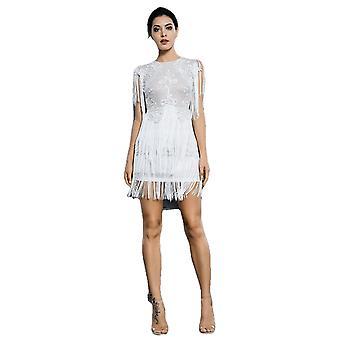 Sexy blanco de cuello redondo de encaje con flecos decorativos punto mesh vestido de fiesta para las damas