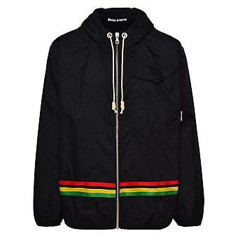 Palm Angels Exodus Stripe Monogram Windbreaker Black Jacket