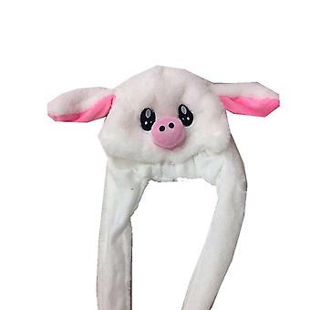 Plush Moving Rabbit Ears Hat Hand Pinching Airbag Magnet Soft Controllable Long