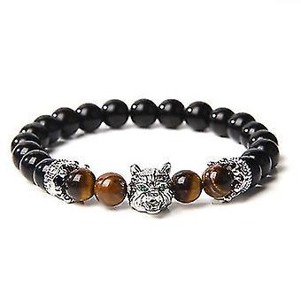 Wolf Head Crystal Stress Relief Anti Anxiety Energy Stone Beaded Bracelet (Branco)