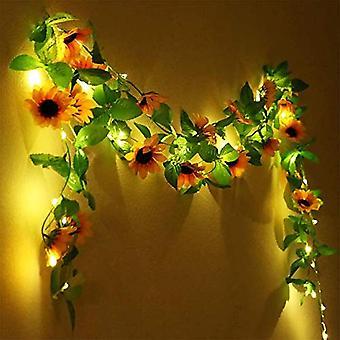 Light Garland Sztuczne rośliny Róże Led String Light Green Leaf Ivy Hanging Garden Yard Lighting 2m 20 LEDS (1szt)