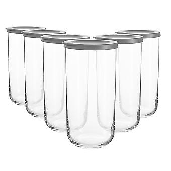 6x Duo Frascos de almacenamiento de vidrio apilable contenedor tapa de silicona 1.4 litros gris