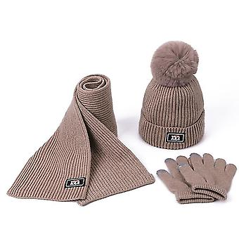 Strickschal, Pompom Mütze Mütze und Handschuhe Set (Hellbraun)