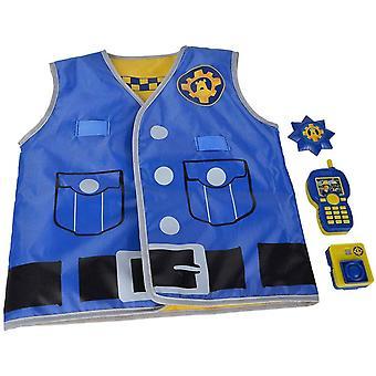 109252478 - Feuerwehrmann Sam Polizei Einsatzset / bedruckte Weste mit Wendefunktion / Body Cam 5cm