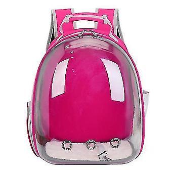 Cat Carrier Batoh, Vesmírná kapsle Knapsack Pet Cestovní taška Vodotěsná prodyšná (růžová červená)