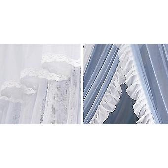 Double-layer Princess Dome Hanging Type Ceiling Round Mosquito Net(Gray And White)