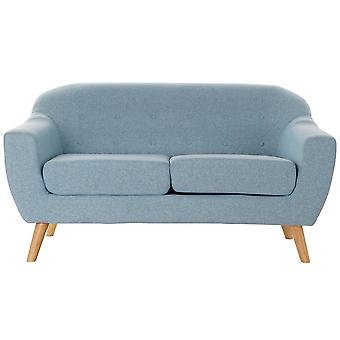 2-mans soffa DKD Home Decor Polyester Gummiträ Himmelsblå (146 x 84 x 82 cm)