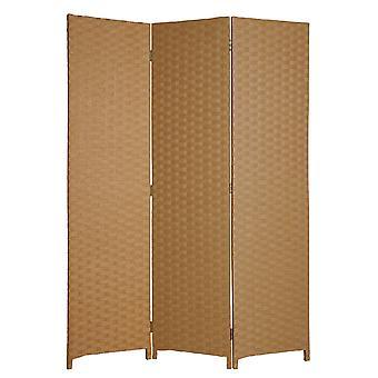 "1"" x 54"" x 72"" Light Brown Wood  3 Panel Screen"