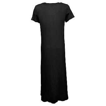 Cuddl Duds Petite Dress Flexwear Short-Sleeve Maxi Dress Black A373536