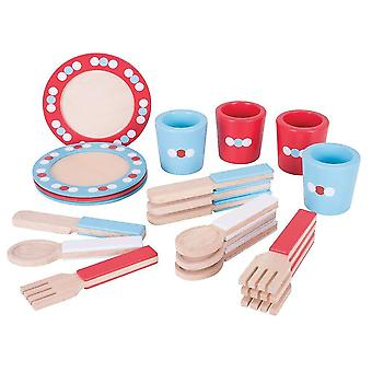 Toy kitchens play food wooden dinner service set - pretend play and role play for children