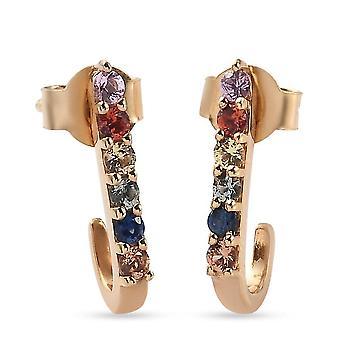 Mehrere Farben Saphir J Hoop Ohrringe Vergoldet Silber Geschenk für ihre 0,52ct