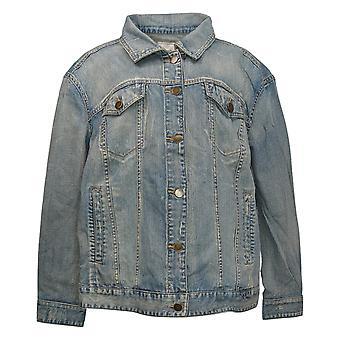 Rachel Hollis Ltd Women's Plus Distressed Denim Jacket Azul A354066