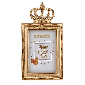 6 Inch Luxury Baroque Style Golden Resin Photo Frame Frame With Stand