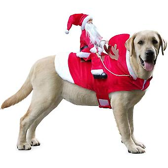 Pet Dog Christmas Costume Santa Claus Riding Outfit Christmas Costumes