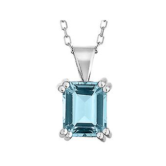 8x6mm Blue Topaz Pendant Necklace 1.5 Carat (ctw) in Sterling Silver with Chain