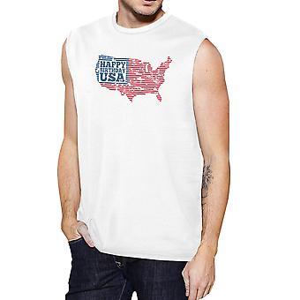 سعيد عيد ميلاد الولايات المتحدة الأمريكية رجالي الأبيض كاب الأكمام التي شيرت مضحك 4 من تموز/يوليه المحملة
