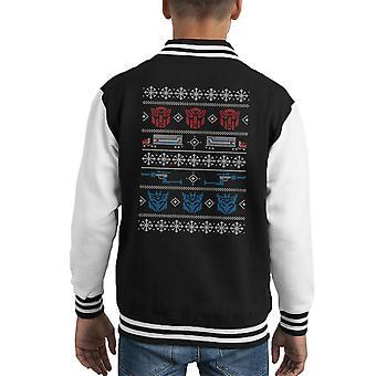 変装のトランスフォーマー クリスマス ニット パターン子供のバーシティ ジャケット