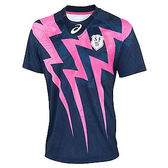 ASICS stade francais rugby thuis shirt [Marine/roze]