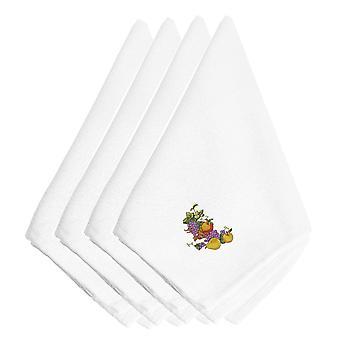 感謝祭スプレー刺繍ナプキン 4 枚セット