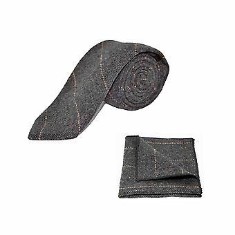 Luxe Herringbone Tweed gris anthracite masculine cravate & mouchoir de poche Set