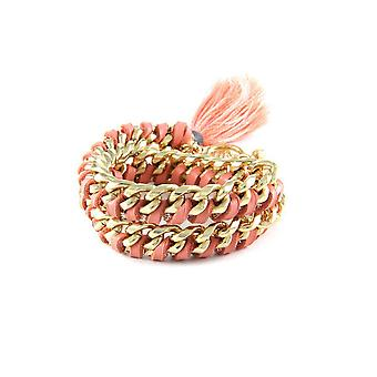 Ettika - Yellow Gold Bracelet, Crystal and Pink Braided Leather Ribbons 3719